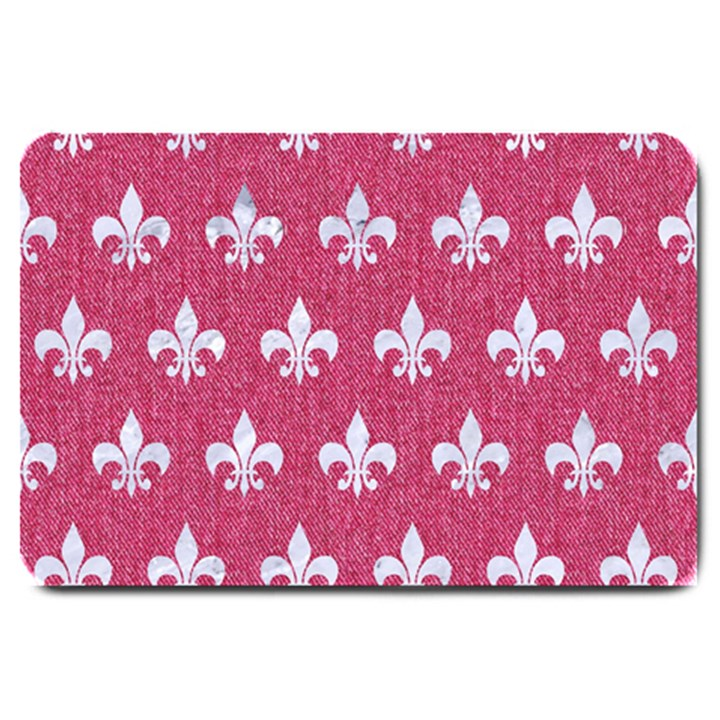 ROYAL1 WHITE MARBLE & PINK DENIM (R) Large Doormat