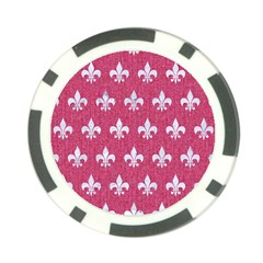 Royal1 White Marble & Pink Denim (r) Poker Chip Card Guard by trendistuff