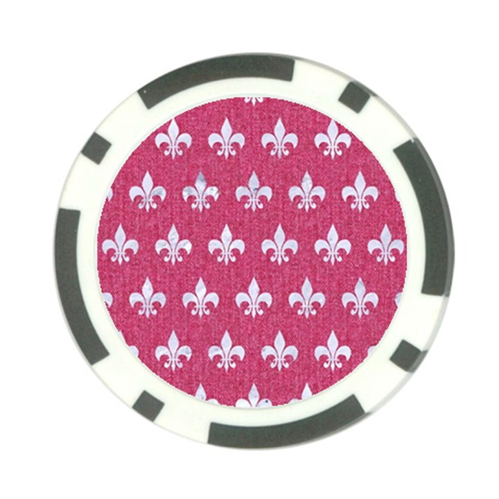 ROYAL1 WHITE MARBLE & PINK DENIM (R) Poker Chip Card Guard