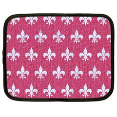 Royal1 White Marble & Pink Denim (r) Netbook Case (large)