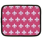ROYAL1 WHITE MARBLE & PINK DENIM (R) Netbook Case (Large) Front