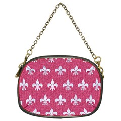 Royal1 White Marble & Pink Denim (r) Chain Purses (one Side)