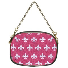 Royal1 White Marble & Pink Denim (r) Chain Purses (two Sides)