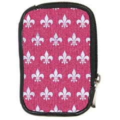 Royal1 White Marble & Pink Denim (r) Compact Camera Cases