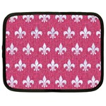 ROYAL1 WHITE MARBLE & PINK DENIM (R) Netbook Case (XL)  Front