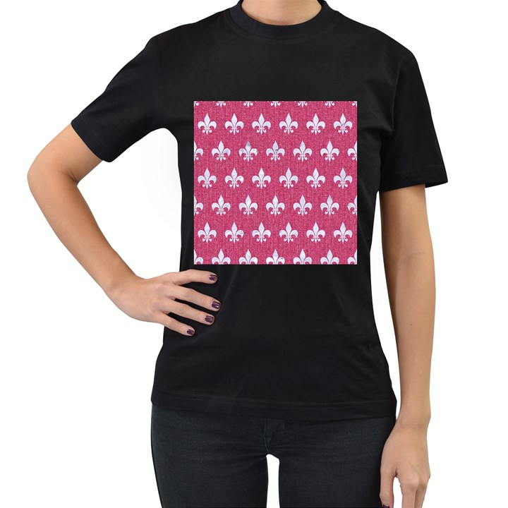 ROYAL1 WHITE MARBLE & PINK DENIM (R) Women s T-Shirt (Black)