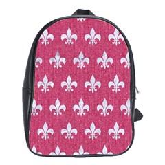 Royal1 White Marble & Pink Denim (r) School Bag (large)