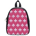 ROYAL1 WHITE MARBLE & PINK DENIM (R) School Bag (Small) Front