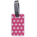 ROYAL1 WHITE MARBLE & PINK DENIM (R) Luggage Tags (Two Sides) Front