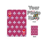 ROYAL1 WHITE MARBLE & PINK DENIM (R) Playing Cards 54 (Mini)  Front - HeartK