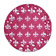 ROYAL1 WHITE MARBLE & PINK DENIM (R) Round Filigree Ornament (Two Sides)