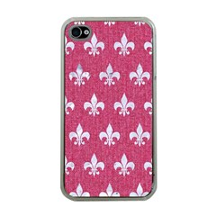 Royal1 White Marble & Pink Denim (r) Apple Iphone 4 Case (clear) by trendistuff