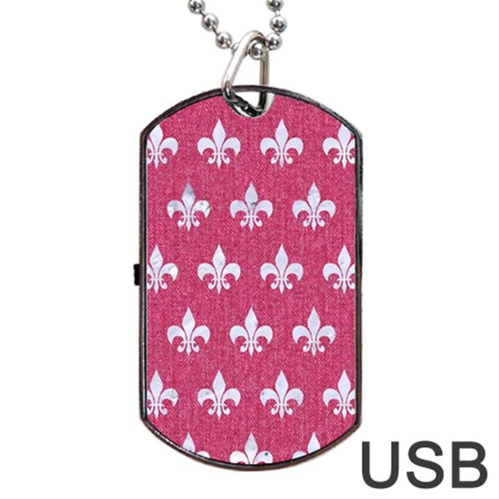 ROYAL1 WHITE MARBLE & PINK DENIM (R) Dog Tag USB Flash (One Side)