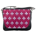 ROYAL1 WHITE MARBLE & PINK DENIM (R) Messenger Bags Front