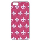 ROYAL1 WHITE MARBLE & PINK DENIM (R) Apple Seamless iPhone 5 Case (Clear) Front