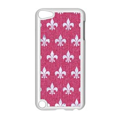 ROYAL1 WHITE MARBLE & PINK DENIM (R) Apple iPod Touch 5 Case (White)
