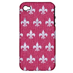 ROYAL1 WHITE MARBLE & PINK DENIM (R) Apple iPhone 4/4S Hardshell Case (PC+Silicone)