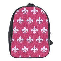 ROYAL1 WHITE MARBLE & PINK DENIM (R) School Bag (XL)