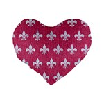 ROYAL1 WHITE MARBLE & PINK DENIM (R) Standard 16  Premium Heart Shape Cushions Back