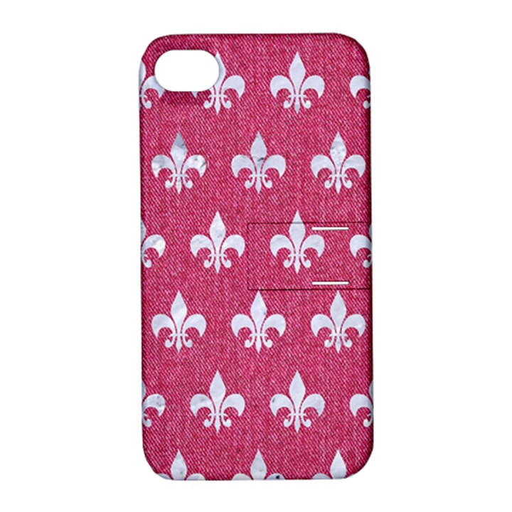 ROYAL1 WHITE MARBLE & PINK DENIM (R) Apple iPhone 4/4S Hardshell Case with Stand