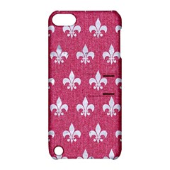 Royal1 White Marble & Pink Denim (r) Apple Ipod Touch 5 Hardshell Case With Stand