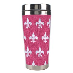 ROYAL1 WHITE MARBLE & PINK DENIM (R) Stainless Steel Travel Tumblers