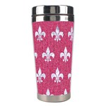 ROYAL1 WHITE MARBLE & PINK DENIM (R) Stainless Steel Travel Tumblers Left