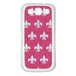ROYAL1 WHITE MARBLE & PINK DENIM (R) Samsung Galaxy S3 Back Case (White) Front