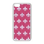 ROYAL1 WHITE MARBLE & PINK DENIM (R) Apple iPhone 5C Seamless Case (White) Front