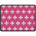 ROYAL1 WHITE MARBLE & PINK DENIM (R) Double Sided Fleece Blanket (Large)  80 x60 Blanket Front