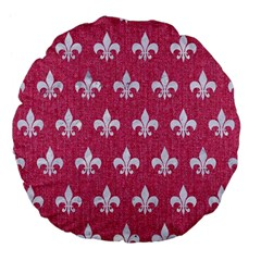 ROYAL1 WHITE MARBLE & PINK DENIM (R) Large 18  Premium Flano Round Cushions