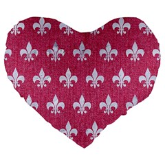 ROYAL1 WHITE MARBLE & PINK DENIM (R) Large 19  Premium Flano Heart Shape Cushions
