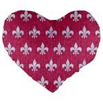 ROYAL1 WHITE MARBLE & PINK DENIM (R) Large 19  Premium Flano Heart Shape Cushions Front