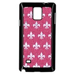 ROYAL1 WHITE MARBLE & PINK DENIM (R) Samsung Galaxy Note 4 Case (Black) Front