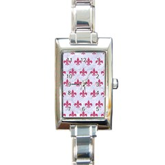 ROYAL1 WHITE MARBLE & PINK DENIM Rectangle Italian Charm Watch