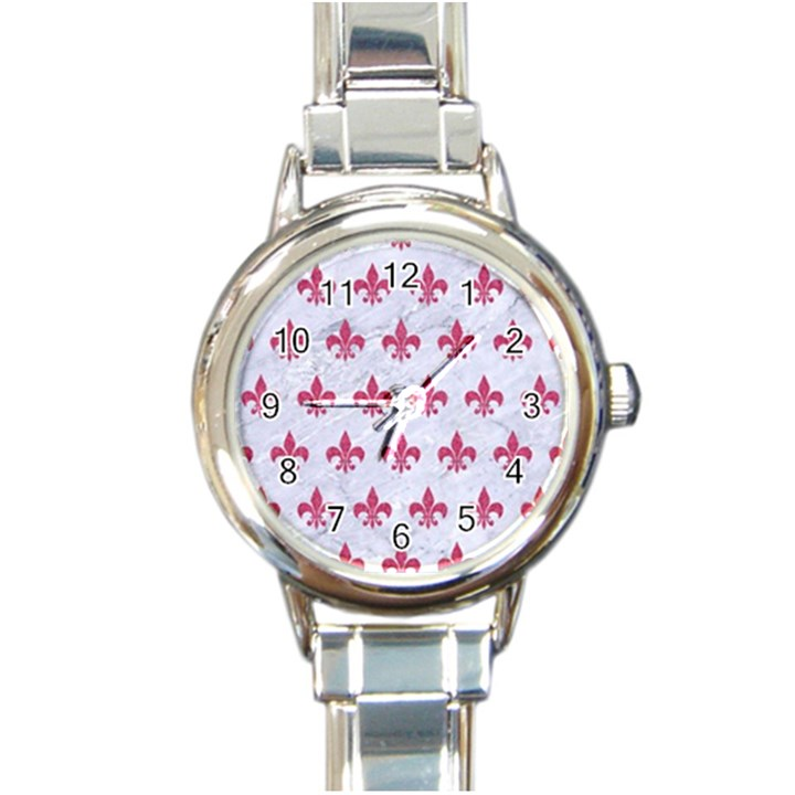 ROYAL1 WHITE MARBLE & PINK DENIM Round Italian Charm Watch