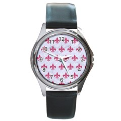 ROYAL1 WHITE MARBLE & PINK DENIM Round Metal Watch