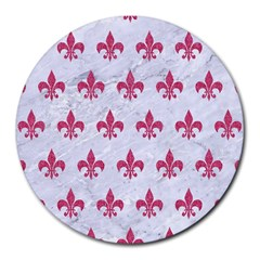 ROYAL1 WHITE MARBLE & PINK DENIM Round Mousepads