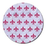 ROYAL1 WHITE MARBLE & PINK DENIM Round Mousepads Front