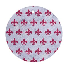 ROYAL1 WHITE MARBLE & PINK DENIM Ornament (Round)