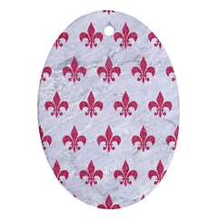 ROYAL1 WHITE MARBLE & PINK DENIM Ornament (Oval)