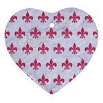 ROYAL1 WHITE MARBLE & PINK DENIM Ornament (Heart) Front