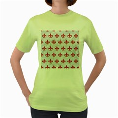 ROYAL1 WHITE MARBLE & PINK DENIM Women s Green T-Shirt