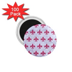 ROYAL1 WHITE MARBLE & PINK DENIM 1.75  Magnets (100 pack)