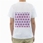 ROYAL1 WHITE MARBLE & PINK DENIM Men s T-Shirt (White) (Two Sided) Back