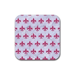 ROYAL1 WHITE MARBLE & PINK DENIM Rubber Coaster (Square)