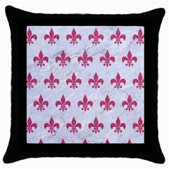 ROYAL1 WHITE MARBLE & PINK DENIM Throw Pillow Case (Black)
