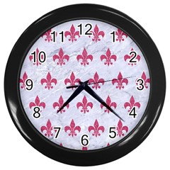 ROYAL1 WHITE MARBLE & PINK DENIM Wall Clocks (Black)