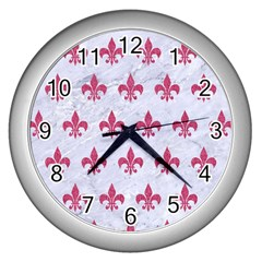 ROYAL1 WHITE MARBLE & PINK DENIM Wall Clocks (Silver)
