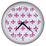ROYAL1 WHITE MARBLE & PINK DENIM Wall Clocks (Silver)  Front